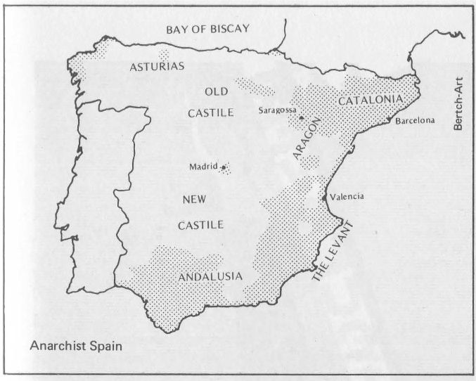 General picture of the areas of anarchist influence in Spain in the 30ies