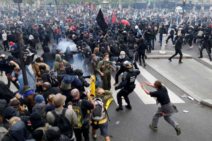 Some 10,000 took part in the demonstration before it turned violent